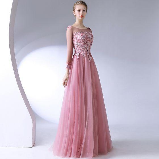 Classique Élégant Rougissant Rose Robe De Soirée 2017 Princesse U-Cou Dentelle Perlage Dos Nu Appliques Soirée Robe De Ceremonie