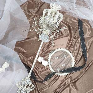 Lyx Bäst Silver Brudbukett 2020 Metall Appliqués Beading Kristall Rhinestone Handgjort Bröllop Bal Tillbehör