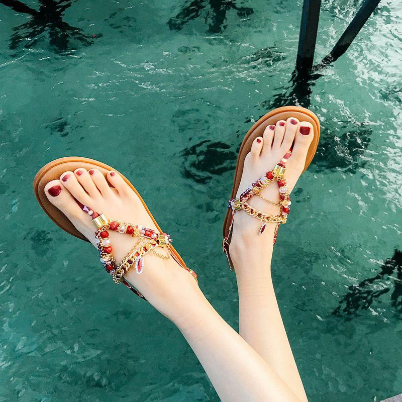 Bohemia Luxury / Gorgeous Brown Womens Sandals Beach Outdoor / Garden Open / Peep Toe Summer Beading Crystal Rhinestone Flat Sandals Womens Shoes 2019