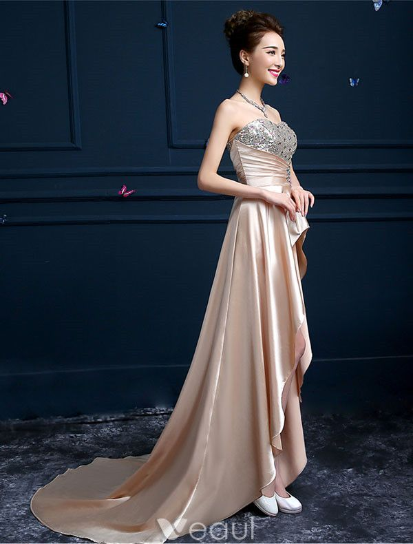 Sexy High-low Cocktail Dress Sweetheart Sequins Dress With Crystal