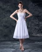 Embroidery Strapless Knee Length Wedding Dress