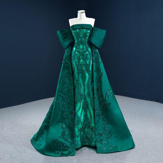 Luxe Vert Foncé Satin Tapis rouge Robe De Soirée 2021 Princesse Bustier Manches Courtes Paillettes Train De Balayage Volants Dos Nu Robe De Ceremonie
