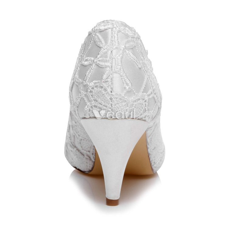 Schöne Spitze Brautschuhe Stilettos Weiß Pumps Bestickte