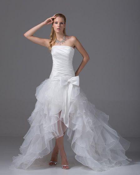 Wysoki Niski Bowknot Asymetryczne Organza Bez Ramiaczek Satyna Kobieta Mini Suknia Ślubna Krótkie Suknie Ślubne