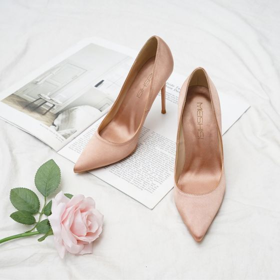 Classy Nude Office OL Satin Pumps 2020 10 cm Stiletto Heels Pointed Toe Pumps