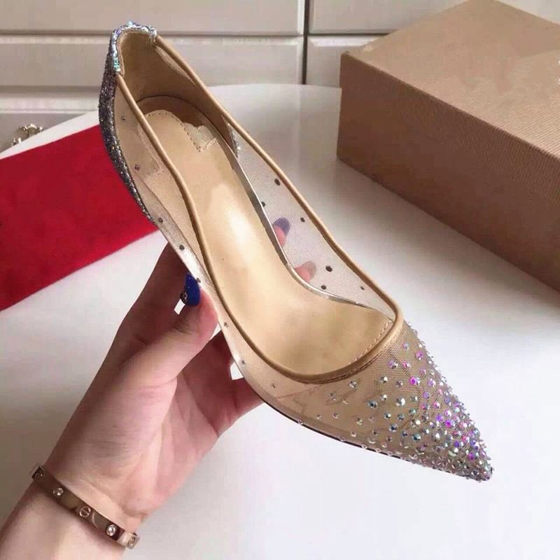 Chic / Beautiful 2017 10 cm / 4 inch Nude Evening Party Leatherette Summer Rhinestone High Heels Stiletto Heels Pumps