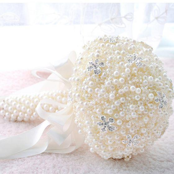 Chic / Beautiful Champagne Wedding Beading Pearl Rhinestone Wedding Flowers 2019