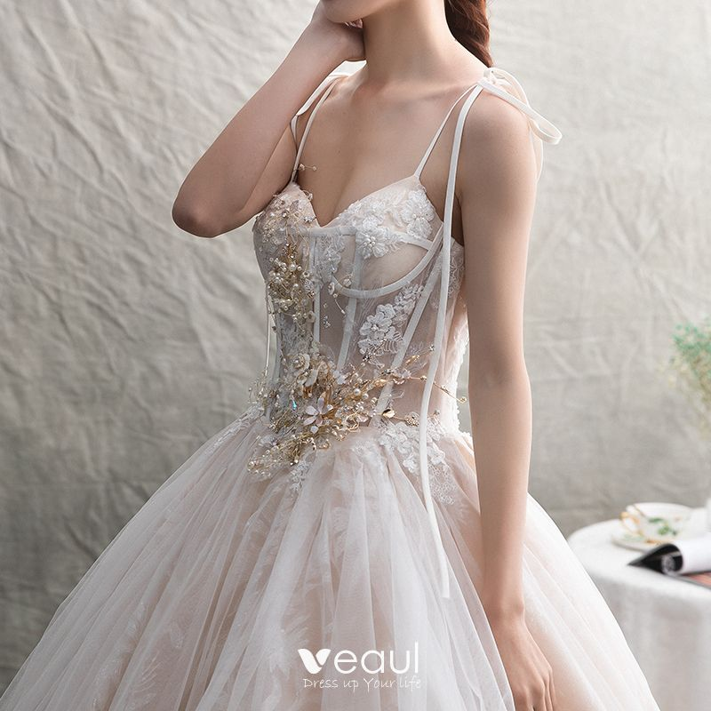 Chic / Beautiful Champagne Wedding Dresses 2019 A-Line / Princess Spaghetti Straps Sleeveless Backless Appliques Lace Pearl Beading Chapel Train Ruffle
