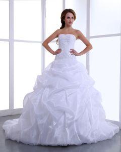 Reizend Trägerloses Satin Taft Rüschen Kathedrale A-linie Brautkleider Hochzeitskleid
