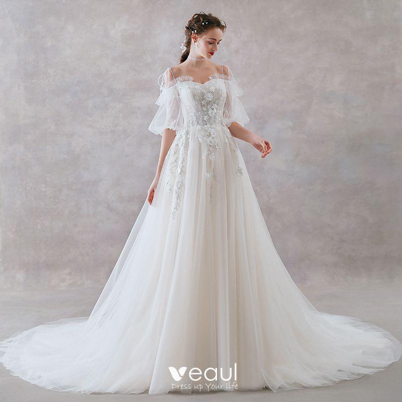 Affordable Ivory Wedding Dresses 2019 A-Line / Princess