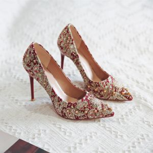 Fancy Chinese style Red Wedding Shoes 2020 Pearl Rhinestone 12 cm Stiletto Heels Pointed Toe Wedding Pumps