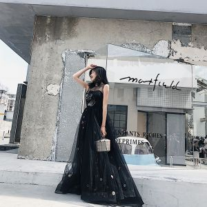 Chic / Beautiful Black Evening Dresses  2018 A-Line / Princess Cartoon Scoop Neck Sleeveless Floor-Length / Long Formal Dresses