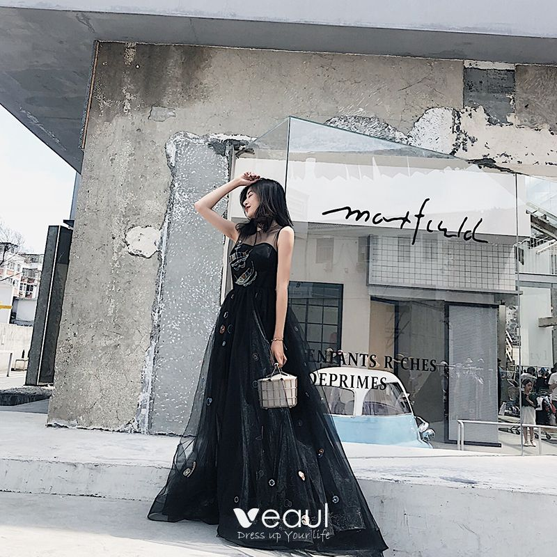 Chic / Beautiful Black Evening Dresses 2018 A,Line / Princess Cartoon Scoop  Neck Sleeveless Floor,Length / Long Formal Dresses