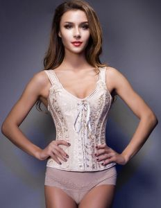 Pearl White Sleeveless Shoulders Printing Girly Corset
