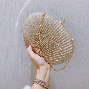 Modern / Fashion Gold Clutch Bags Beading Rhinestone PU Evening Party Accessories 2019