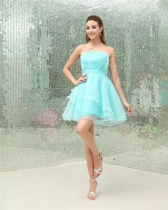 Strapless Ruffle Sleeveless Zipper Mini Length Organza Woman Homecoming Dresses