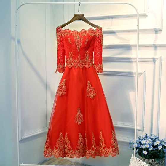 Chic / Beautiful Red Formal Dresses Evening Dresses  2017 Lace Flower Short Scoop Neck 1/2 Sleeves A-Line / Princess
