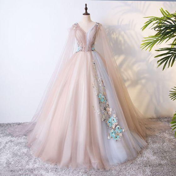 Hermoso Champán Vestidos de gala 2017 Ball Gown Con Encaje Flor Perla Flores Artificiales V-Cuello Sin Espalda Manga Corta Largos Vestidos Formales