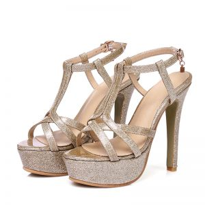 Chic / Beautiful Prom Womens Sandals 2017 PU T-Strap Platform High Heel Open / Peep Toe Sandals