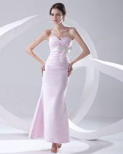Mode Satijn Geplooide Strik Lieverd Mouwloze Enkellange Bruidsmeisjes Jurken