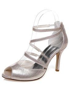 Sandales De Mariage Sparkly Avec Talon Haut Strappy Chaussures De Mariée Talons Aiguilles Avec Bride Cheville