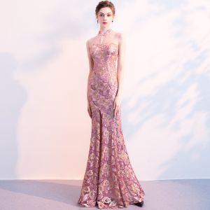 Chinesischer Stil Violett Abendkleider 2018 Meerjungfrau Durchsichtige Stehkragen Ärmellos Pailletten Gespaltete Front Lange Festliche Kleider