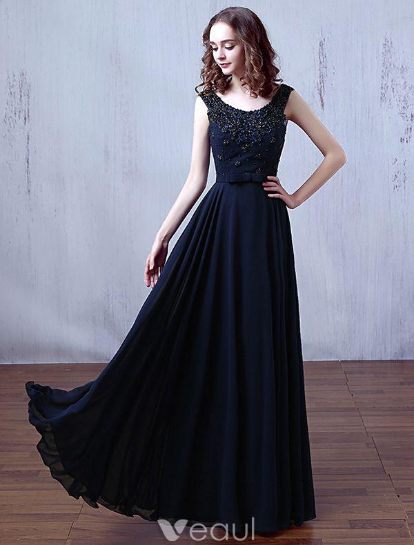 Glamorous Evening Dresses 2016 Scoop Neckline Beading Applique Lace Dark Navy Chiffon Long Dress