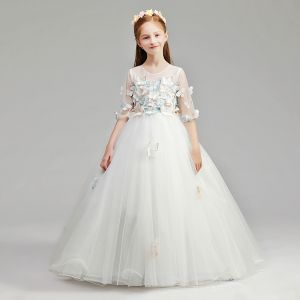 Romantic Ivory See-through Flower Girl Dresses 2019 A-Line / Princess Scoop Neck 1/2 Sleeves Butterfly Appliques Lace Floor-Length / Long Ruffle Wedding Party Dresses