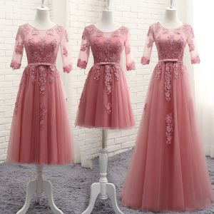 Chic / Beautiful Candy Pink See-through Bridesmaid Dresses 2018 A-Line / Princess Scoop Neck 1/2 Sleeves Appliques Lace Bow Sash Ruffle Backless Wedding Party Dresses