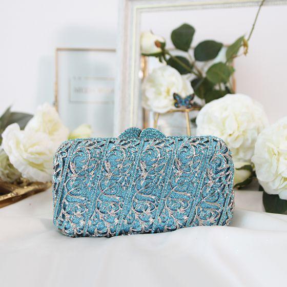Modern / Fashion Pool Blue Rhinestone Glitter Clutch Bags 2019