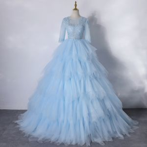 Illusion Sky Blue Dancing Prom Dresses 2020 Ball Gown Scoop Neck 1/2 Sleeves Appliques Lace Floor-Length / Long Cascading Ruffles Backless Formal Dresses