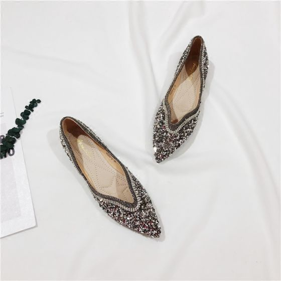 Leather Rhinestone Sequins Pointed Toe Flat
