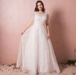 Schöne Ivory / Creme Übergröße Brautkleider 2018 A Linie Tülle U-Ausschnitt Schnüren Perlenstickerei Applikationen Rückenfreies Hochzeit
