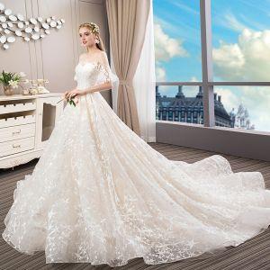 Elegant Champagne Brudekjoler 2018 Balkjole Med Blonder Stjerne Perle Scoop Neck Halterneck Kort Ærme Royal Train Bryllup