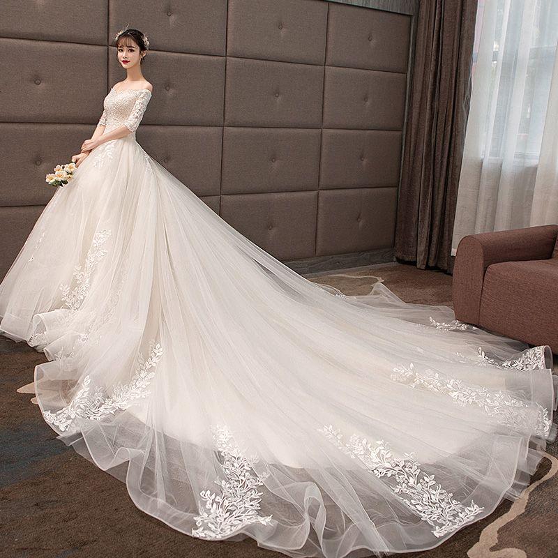 Elegant Champagne Wedding Dresses 2019 A-Line / Princess Off-The-Shoulder Lace Flower Sequins 1/2 Sleeves Backless Royal Train