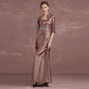 Chic / Beautiful Brown Mother Of The Bride Dresses 2018 A-Line / Princess Crystal Sequins Strapless 1/2 Sleeves Ankle Length Wedding Party Dresses