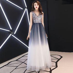 Charming Grey Evening Dresses  2019 A-Line / Princess V-Neck Sequins Sleeveless Backless Floor-Length / Long Formal Dresses