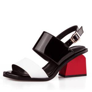 Schöne Weiß Damenschuhe 2017 Leder Mittel-Heels Thick Heels Peeptoes Handgefertigt Sandaletten