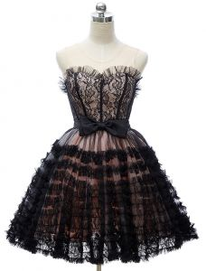 Beautiful Little Black Dresses 2016 Sweetheart Cascading Ruffles Tulle With Lace Short Cocktail Dress With Bow-knot