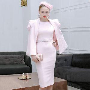 2 Stück Rosa Abendkleider 2019 Rundhalsausschnitt Ärmellos Stoffgürtel Knielang Festliche Kleider