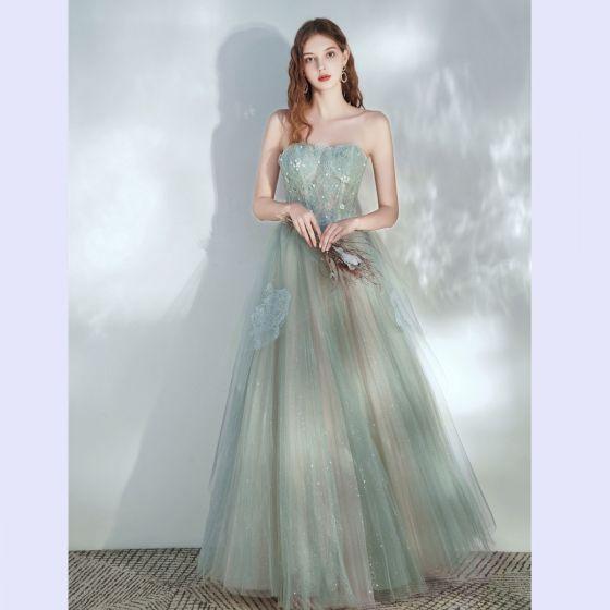 Elegant Sage Green Prom Dresses 2020 A-Line / Princess Sweetheart Sleeveless Beading Glitter Tulle Floor-Length / Long Ruffle Backless Formal Dresses