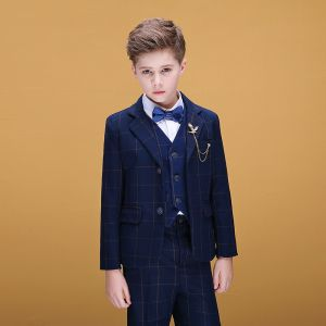 Navy Blue Checked Boys Wedding Suits 2020