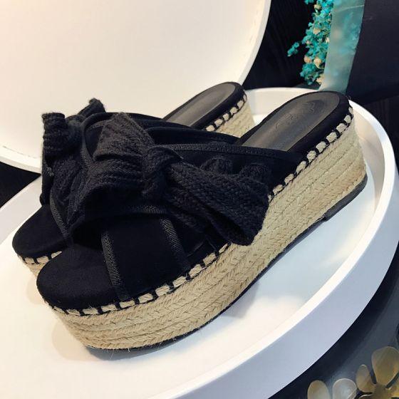 Elegantes 2017 Exterior / Jardín Negro Gris Verano Medio Talón Talones Gruesos Zapatilla 8 cm / 3 inch Peep Toe Sandalias De Mujer