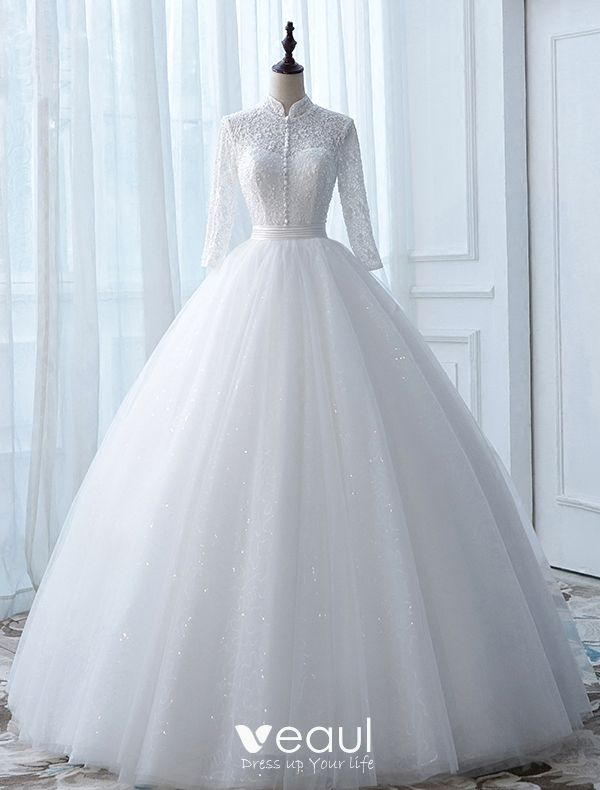 Vintage Wedding Dresses 2017 High Neck Applique Buttons White Glitter Tulle Bridal Gowns,Black And White Wedding Bridesmaid Dresses