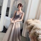 Elegant Grey Evening Dresses  2019 A-Line / Princess V-Neck Sleeveless Sequins Court Train Ruffle Backless Formal Dresses