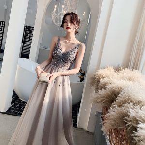Elegant Grey Evening Dresses  2019 A-Line / Princess V-Neck Sleeveless Sequins Court Train Ruffle Backless Formal Dresses