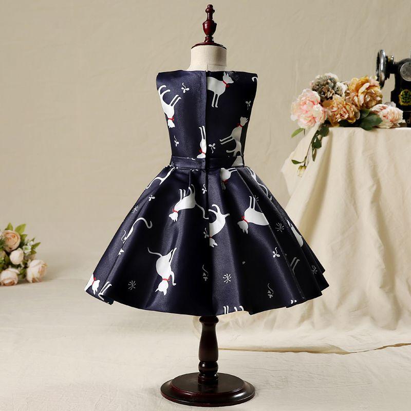 Chic / Beautiful Hall Wedding Party Dresses 2017 Flower Girl Dresses Black Short A-Line / Princess Printing Cascading Ruffles Scoop Neck Sleeveless Bow Sash