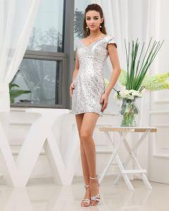Sequins V Neck Sleeveless Backless Zipper Mini Cocktail Dress
