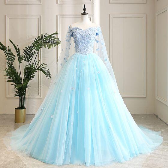 Hada de las flores Azul Vestidos de gala 2021 Ball Gown Fuera Del Hombro Manga Corta Apliques Con Encaje Flor Rebordear Watteau Train Ruffle Sin Espalda Vestidos Formales