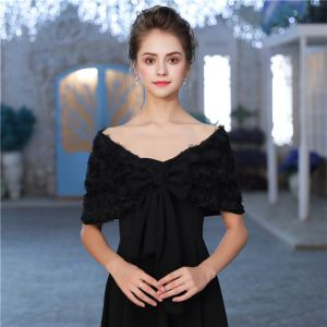 Black Tulle Lace V-Neck Evening Party Prom Shawls 2017